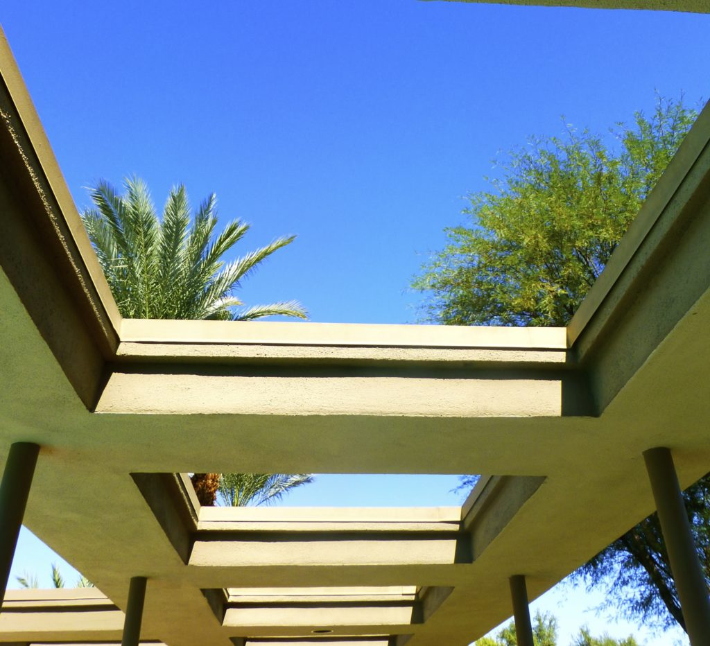 Open air walkway at Twin Palms